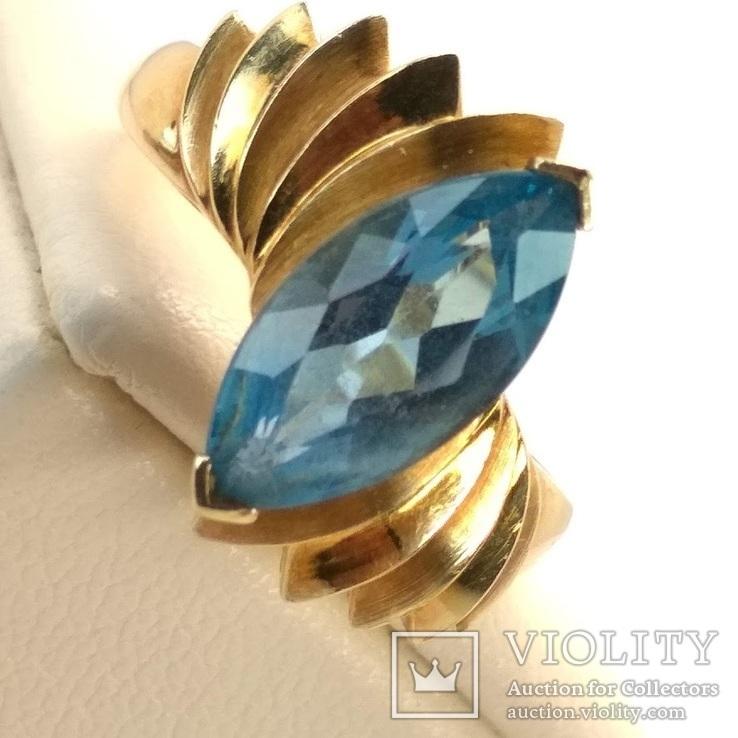 Винтажное золотое кольцо с натуральным топазом, фото №3