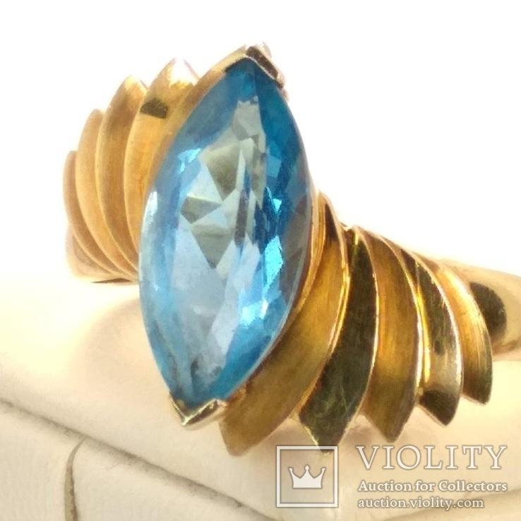 Винтажное золотое кольцо с натуральным топазом, фото №4