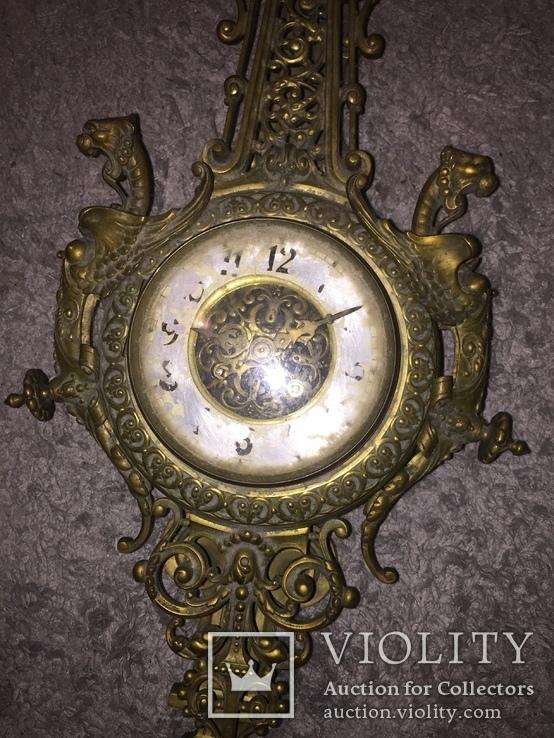 Бронзовые настенные часы «Грифоны», фото №6