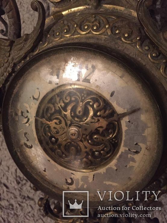 Бронзовые настенные часы «Грифоны», фото №7