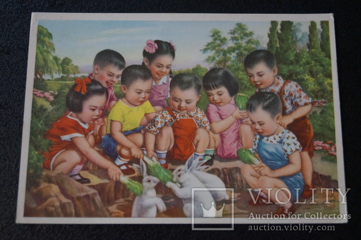 """Открытка.""""Кормление зайцев"""".(Чжан Да-синь) 1950 год.Китай., фото №2"""