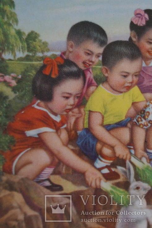 """Открытка.""""Кормление зайцев"""".(Чжан Да-синь) 1950 год.Китай., фото №3"""
