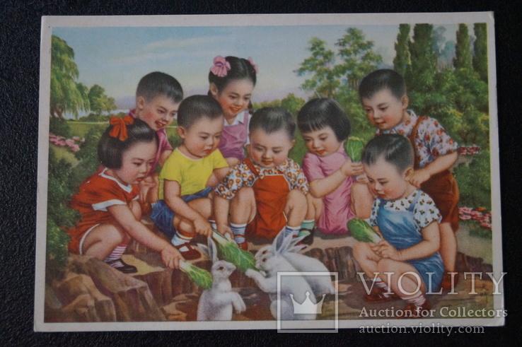 """Открытка.""""Кормление зайцев"""".(Чжан Да-синь) 1950 год.Китай., фото №4"""
