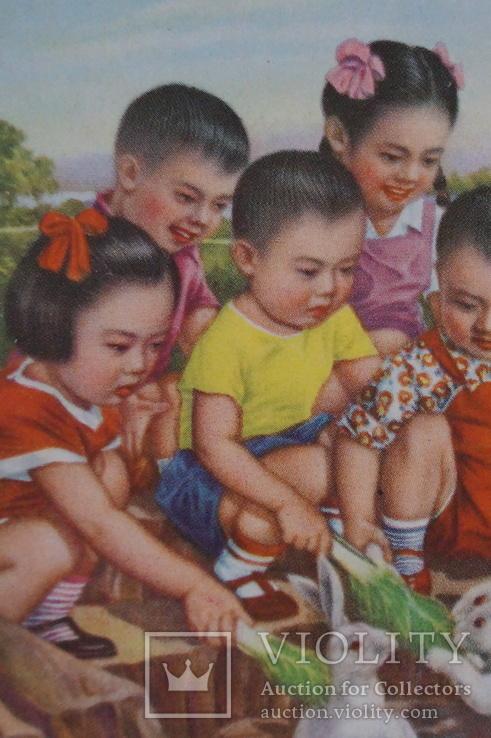 """Открытка.""""Кормление зайцев"""".(Чжан Да-синь) 1950 год.Китай., фото №6"""