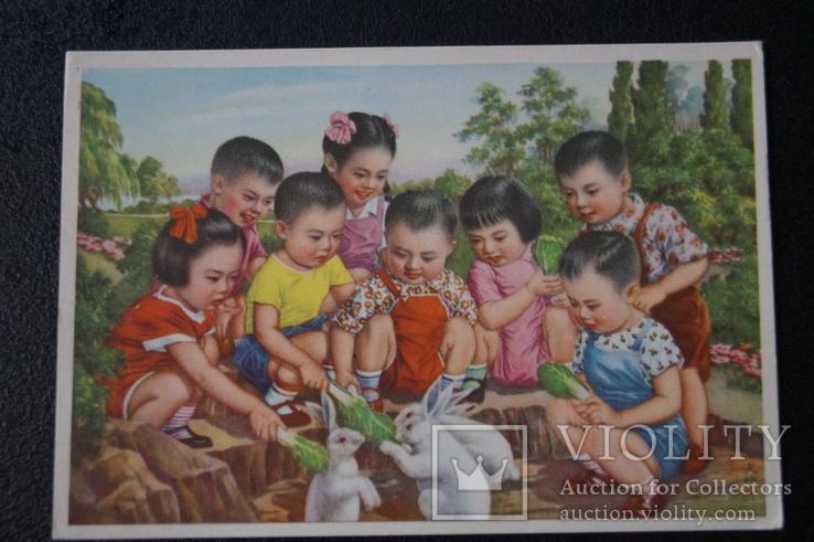 """Открытка.""""Кормление зайцев"""".(Чжан Да-синь) 1950 год.Китай., фото №7"""