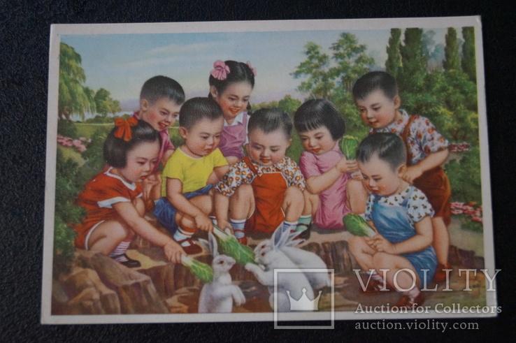 """Открытка.""""Кормление зайцев"""".(Чжан Да-синь) 1950 год.Китай., фото №9"""