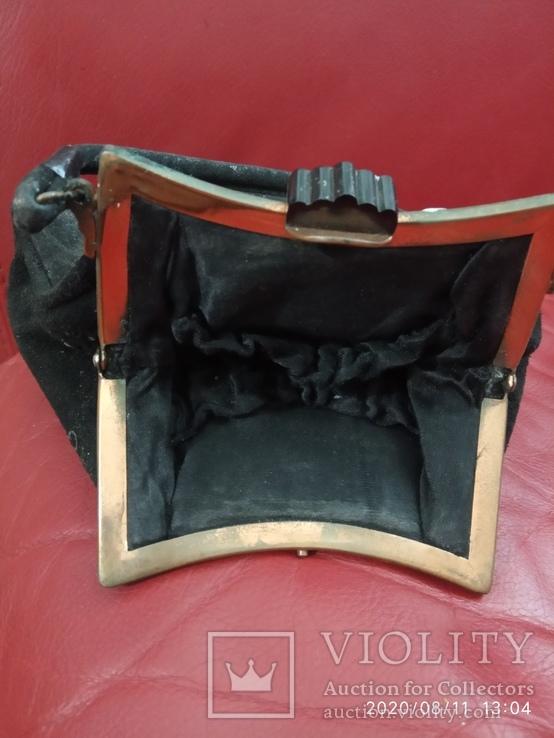 Старинная сумочка черный бархат, фото №3