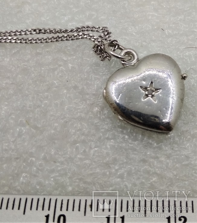 Цепочка с кулоном в виде Сердечка Серебро 925, фото №3