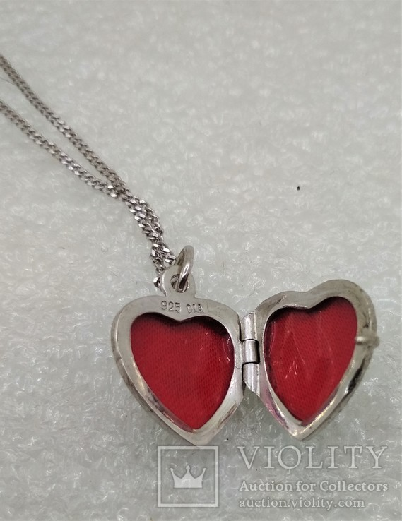 Цепочка с кулоном в виде Сердечка Серебро 925, фото №5