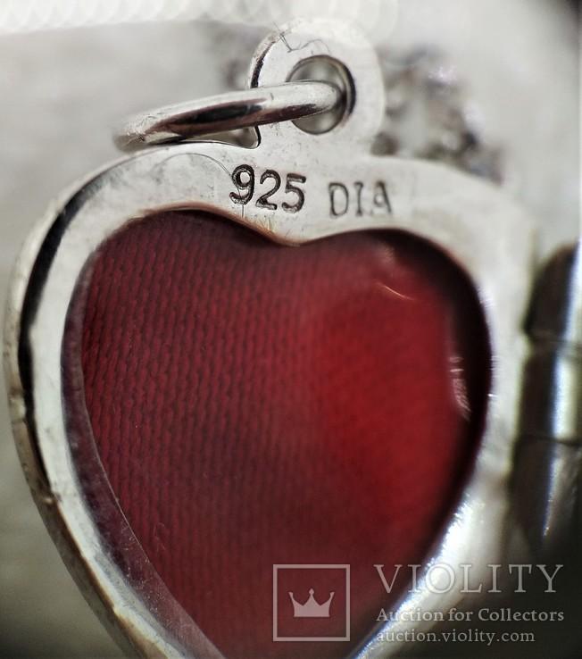 Цепочка с кулоном в виде Сердечка Серебро 925, фото №8