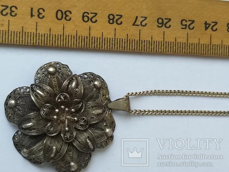 Серебреная подвеска с цепочкой 18г. 925пр., фото №8