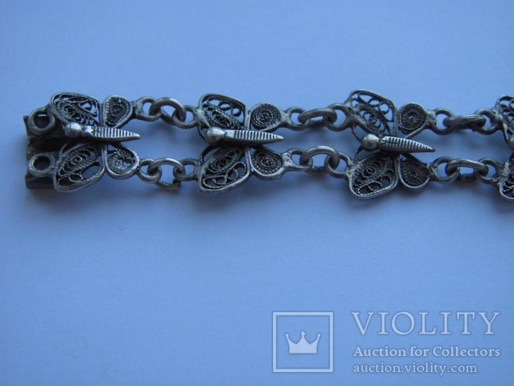 Браслет срібло 800 метелики скань филигрань, фото №3