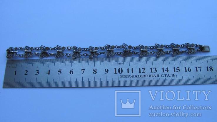 Браслет срібло 800 метелики скань филигрань, фото №4