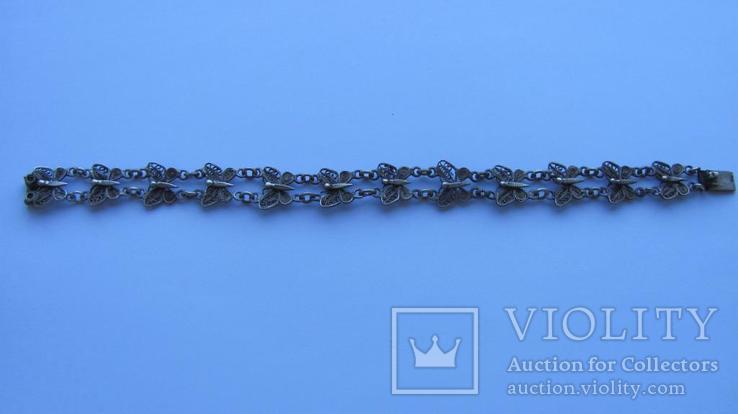 Браслет срібло 800 метелики скань филигрань, фото №5