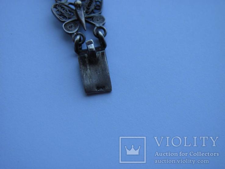 Браслет срібло 800 метелики скань филигрань, фото №6
