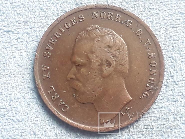 Швеция 1 эре 1872 года  буквы L.A. под бюстом, фото №5