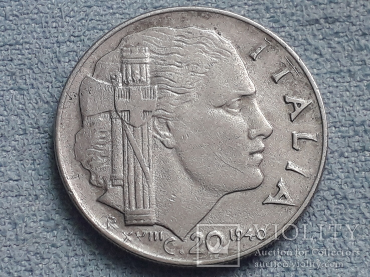 Италия 20 чентезимо 1940 года, фото №2