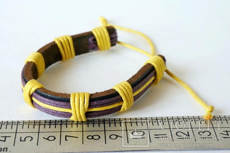 Кожаный браслет на завязке, фото №3