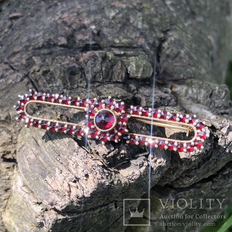 Винтажная серебряная брошь с богемскими гранатами, Чехия, фото №2
