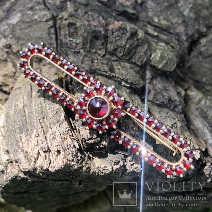 Винтажная серебряная брошь с богемскими гранатами, Чехия, фото №3