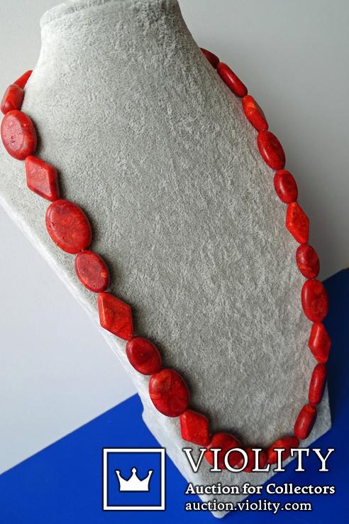 Бусы-колье из полированного губчатого коралла в серебре., фото №2