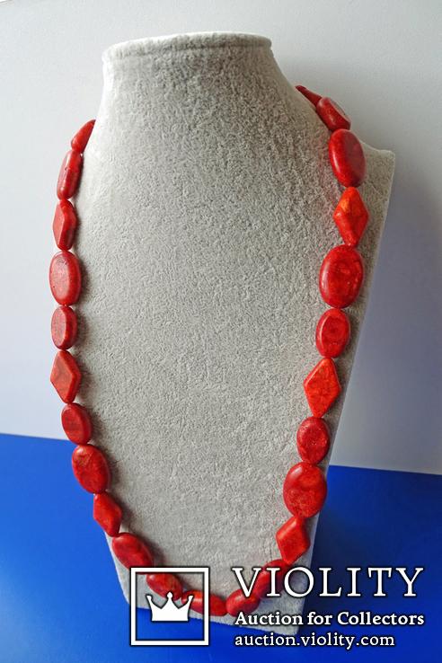 Бусы-колье из полированного губчатого коралла в серебре., фото №4