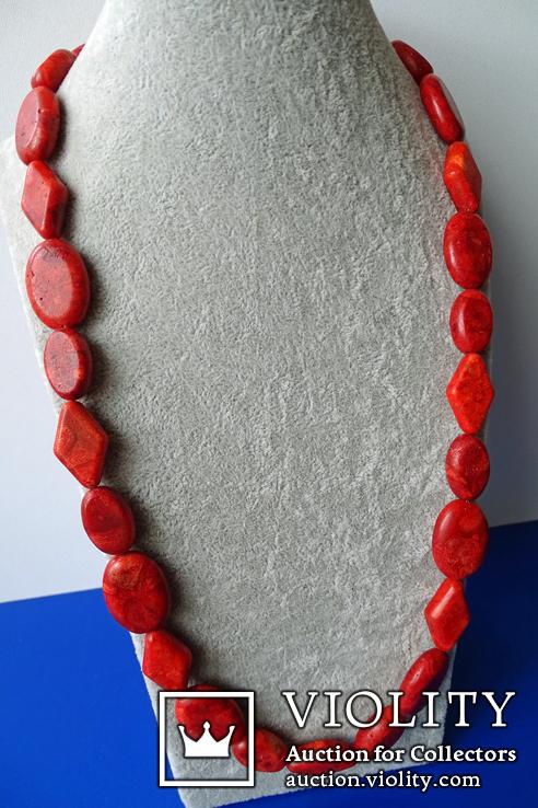 Бусы-колье из полированного губчатого коралла в серебре., фото №5