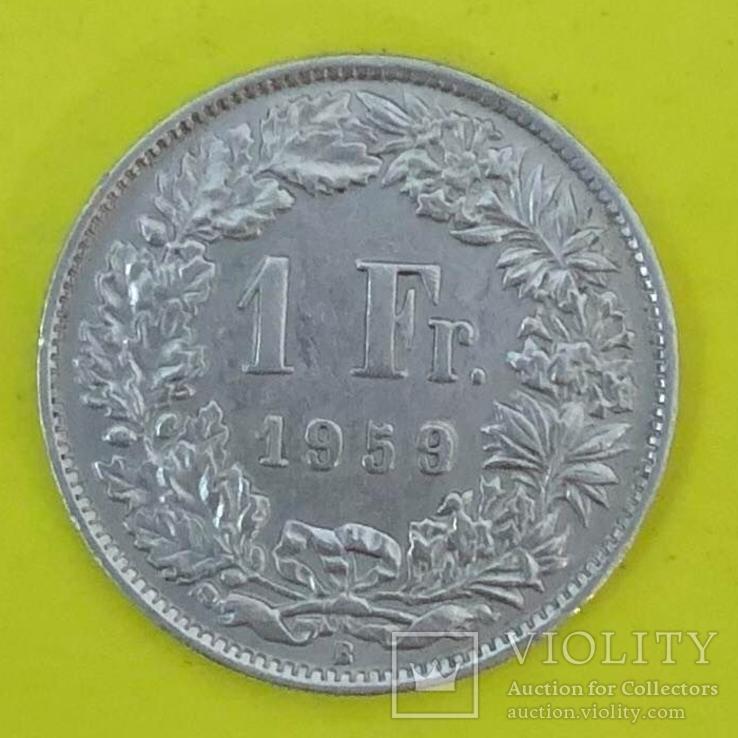 Швейцарія 1 франк, 1959р. Срібло., фото №2