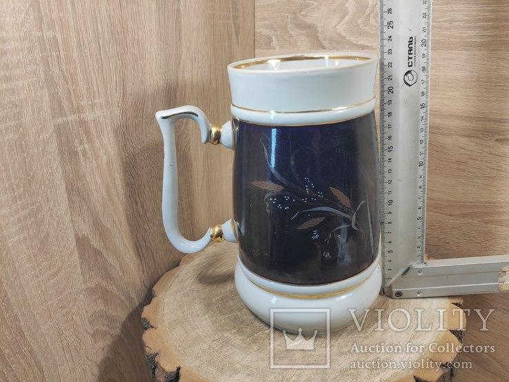 Кружка 2 литра,кобальт, золочение.СССР., фото №2