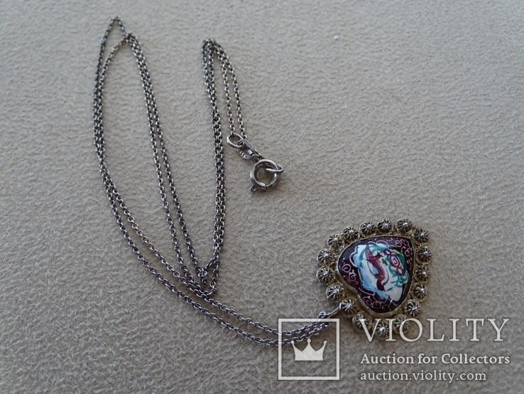 Винтажная филигранная подвеска с цепочкой. Медь, эмаль, серебро., фото №3