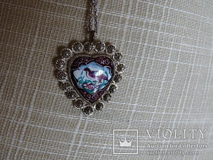 Винтажная филигранная подвеска с цепочкой. Медь, эмаль, серебро., фото №4