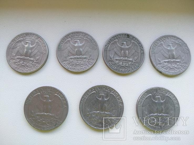 25 центов США квотер 1965, 72, 80, 83, 84, 86 год, фото №3