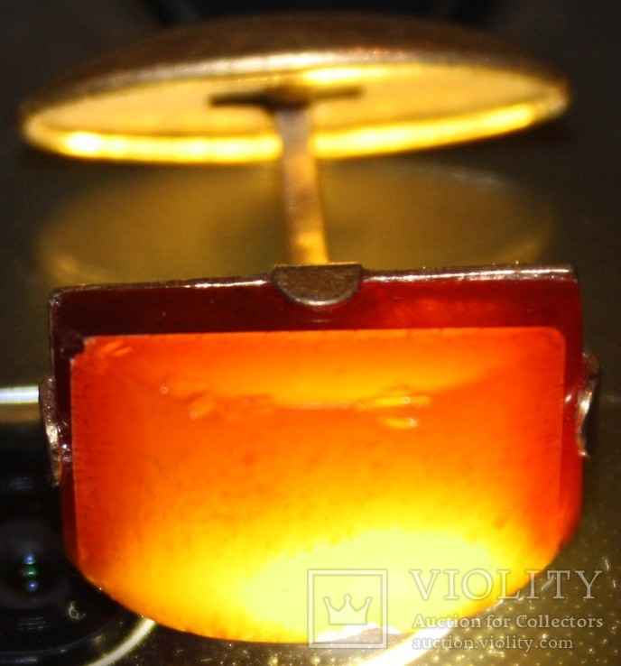 Янтарная запонка СССР,некомплект (Калининградский янтарь,ЯК7) 3,2 грамма, фото №11