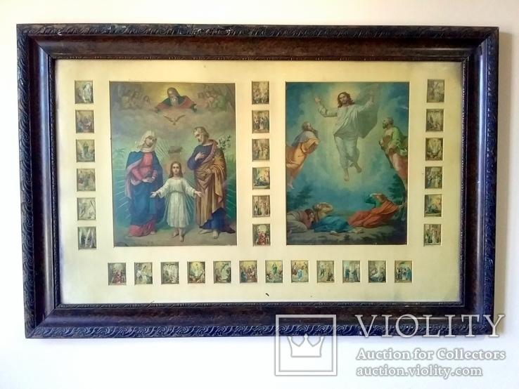 Антикварная Икона Большая - Картина под Стеклом Резная Деревянная Рама, фото №2