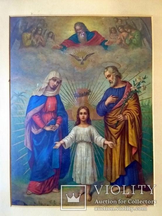 Антикварная Икона Большая - Картина под Стеклом Резная Деревянная Рама, фото №3