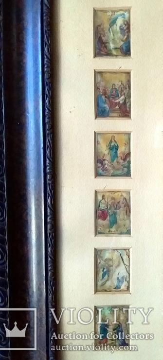 Антикварная Икона Большая - Картина под Стеклом Резная Деревянная Рама, фото №5
