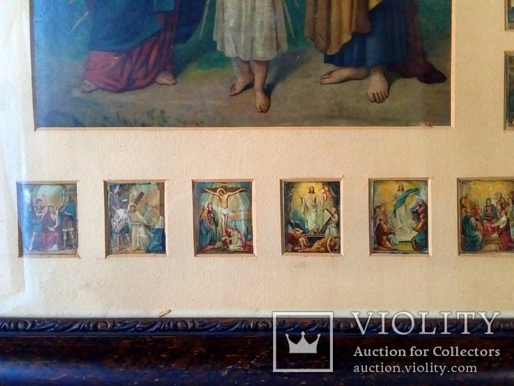 Антикварная Икона Большая - Картина под Стеклом Резная Деревянная Рама, фото №8