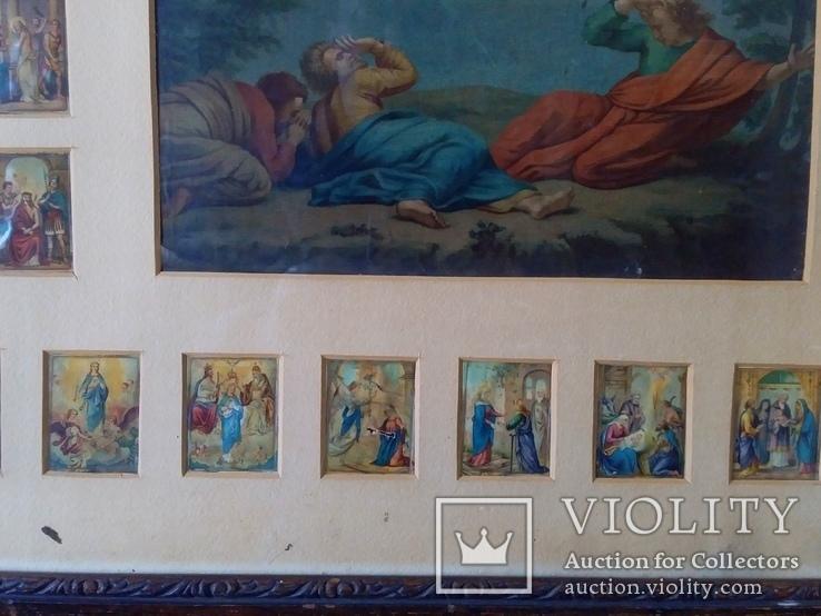 Антикварная Икона Большая - Картина под Стеклом Резная Деревянная Рама, фото №9