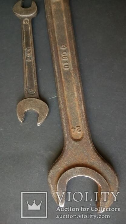 Два немецких гаечных рожковых ключа Tona 0610 30 мм 24 мм 12 мм 11 мм, фото №7
