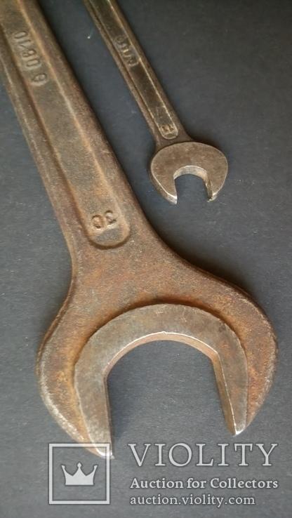 Два немецких гаечных рожковых ключа Tona 0610 30 мм 24 мм 12 мм 11 мм, фото №8
