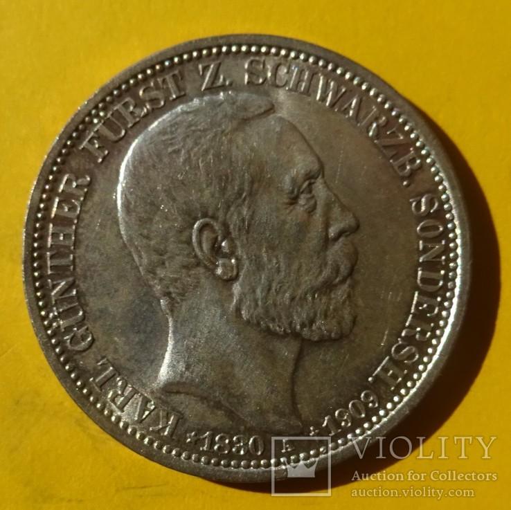 3 марки, Шварцбург-Зондерхаус, 1909 год., фото №3