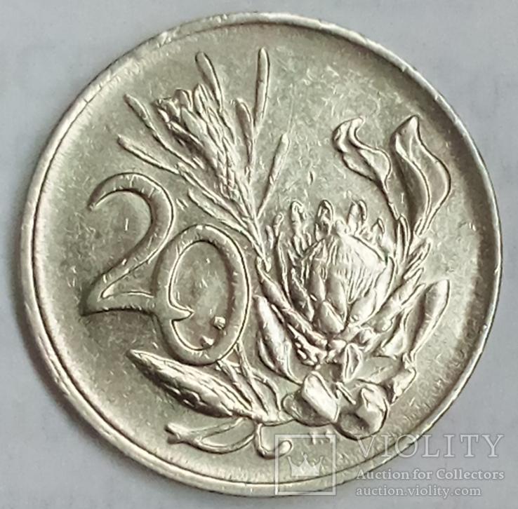 20 центов 1984 г. ЮАР, фото №2