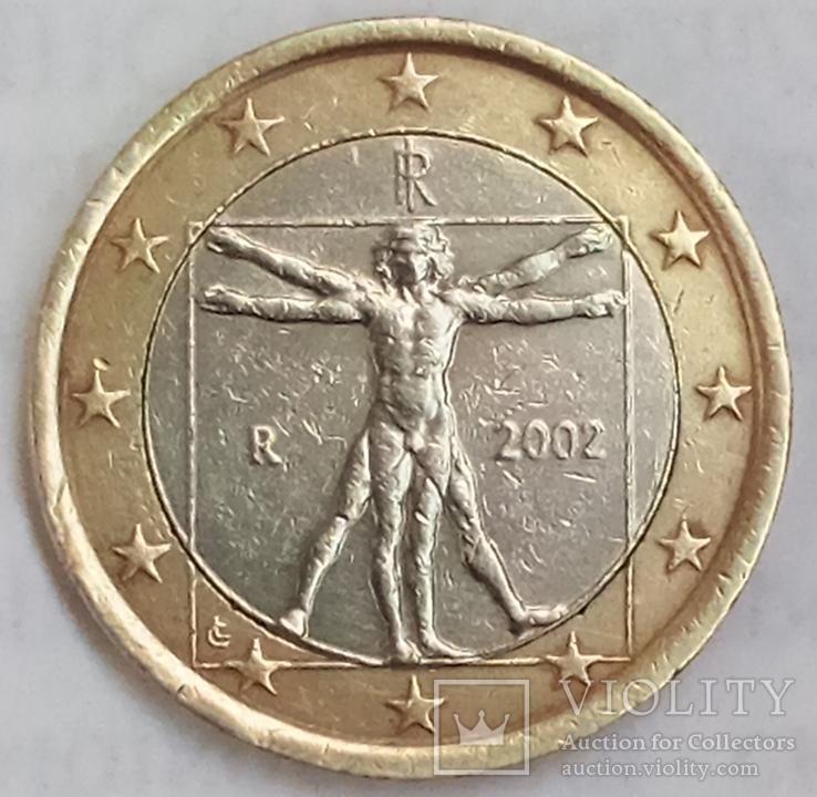 1 евро 2002 г. Италия, фото №2
