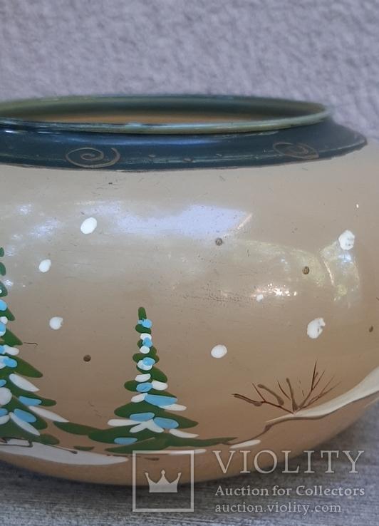 Ваза стеклянная с ручной росписью.Зима, фото №12