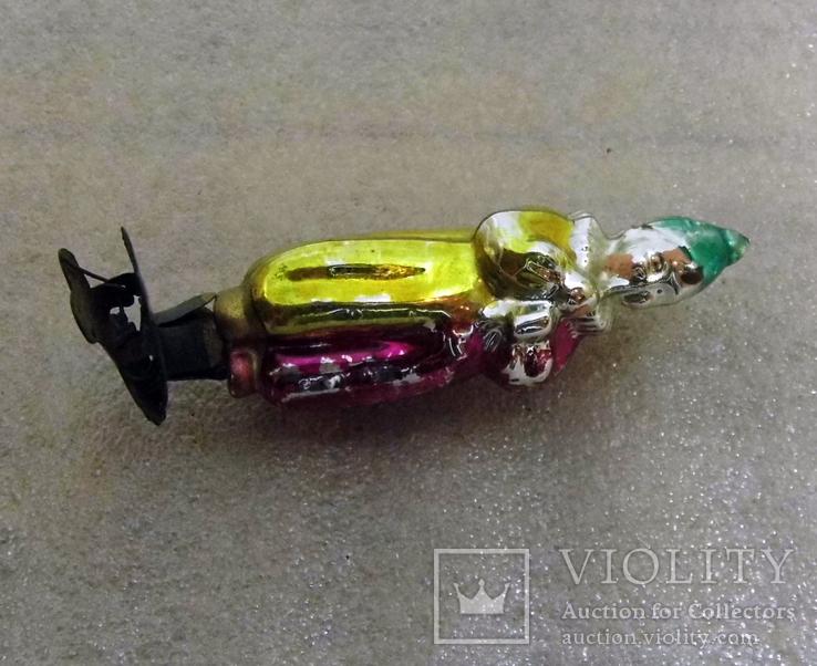 Елочная игрушка фигурная стеклянная на прищепке, фото №3