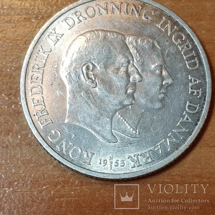 2 кроны Дания 1953 г.Кампания против туберкулеза в Гренландии
