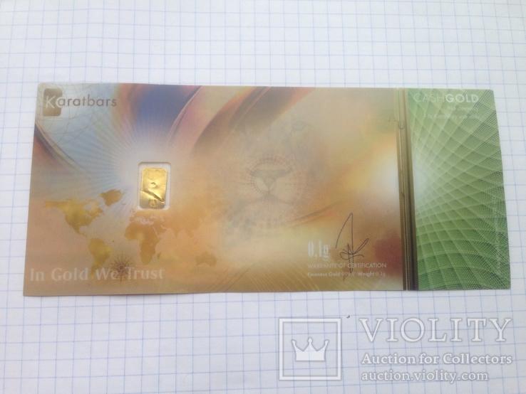 Пластиковая бона Karat Gold Cooperation PTE Ltd. с золотым слитком 0,1 гр., фото №3