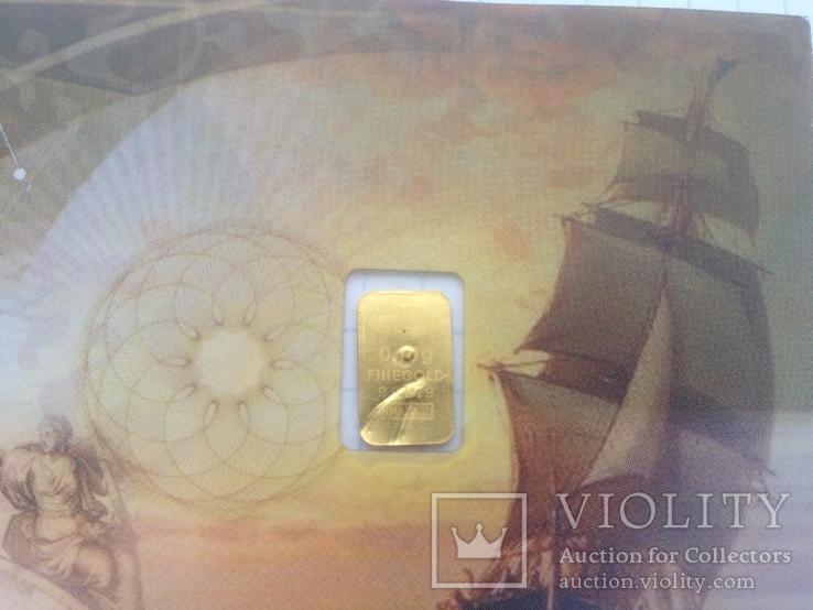Пластиковая бона Karat Gold Cooperation PTE Ltd. с золотым слитком 0,1 гр., фото №4