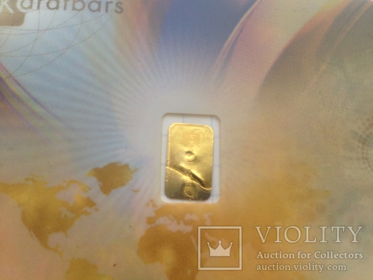 Пластиковая бона Karat Gold Cooperation PTE Ltd. с золотым слитком 0,1 гр., фото №5