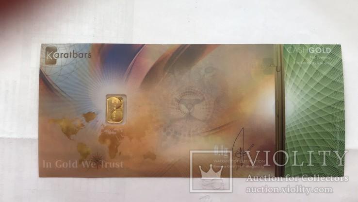 Пластиковая бона Karat Gold Cooperation PTE Ltd. с золотым слитком 0,1 гр., фото №6